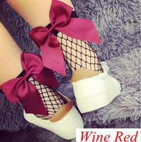 Wholesale girls ruffled lace socks resale online - Fashion Summer New girls students Ruffle Cute Flower Bowknot Fishnet Ankle High Mesh Lace Fish Net Short Socks pairs