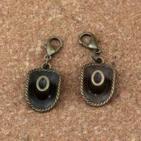 Wholesale bronze hat resale online - 100Pcs Antique bronze Cowboy hat Charm Bead with Lobster clasp Fit Charm Bracelet Jewelry DIY x36mm A b