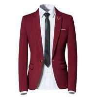 Wholesale notch collar slim fit suits - YFFUSHI 2018 Fashion Men Suit Jacket Notched Collar 3 Colors Solid Blazer Single Button Business Casual Style Slim Fit
