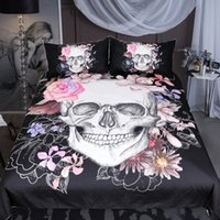 Wholesale skull bedding sets resale online - Fashion Western Style D Pink Flower White Skull Pattern Bedding Set Black Polyester Fiber Fabric Duvet Cover Pillowcase