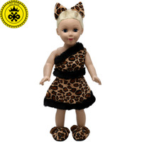 Wholesale Girls Tiger Sets - American Girl Doll Clothes Ears and Tail Tiger Leopard Sets Doll Clothes With Shoes Free for 16-18 inch Dolls 3 Colors MG-262