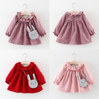 Wholesale Beach Bags Natural - Autumn Dress with Bags Fuzz Balls Cotton Flannelette Round Neck Long Sleeve Baby Girls Dresses Outfit 9M-4T