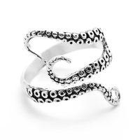 joyas de anillos de pulpo al por mayor-Anillo de acero inoxidable para mujeres hombres joyería gótico mar profundo calamar pulpo anillo abierto pulpo ajustable titanio hombres anillo