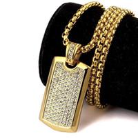 tarjeta de alisado al por mayor-2018 Joyería de los hombres Smooth Army Card colgante con diamantes de imitación de alta calidad Hip Hop Men Dog Tag Charm Necklace para el regalo
