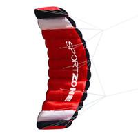 pipas de dupla linha dublê venda por atacado-Y6030W Dupla Linha Parachute Stunt Kite com Ferramentas Voando Parafoil Kite Esportes de Diversão Ao Ar Livre Praia Kites