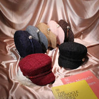 New autumn and winter style mini - style bright silk navy hat British vintage tweed top hat