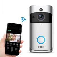 zeki kapı zili toptan satış-EKEN Akıllı Kablosuz Video Kapı Zili 2 Gerçek Zamanlı 720 P HD Video Wifi Kamera İki Yönlü Ses Gece Görüş App Kontrolü V2 Wi-Fi Etkin Kapı Zili