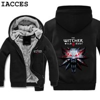 Wholesale browning xl jacket hunting - IACCES Brand Mens The Witcher 3 Wild Hunt Wolf Head Hoodies Adult Velvet Game Sweatshirts Men Winter Jacket Zipper Coat Gifts