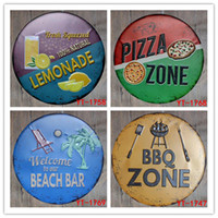 Wholesale new art paintings for sale - New BBQ ZONE Round Painting Retro Gift Metal Sign Plaque Wall decor
