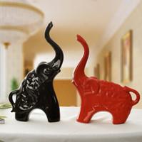 enfeites de metal preto venda por atacado-Vermelho Preto de Cerâmica Africano Elefante Home Decor Artesanato Decoração do Quarto Kawaii Ornamento De Cerâmica Porcelana Figuras de Animais