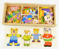 Wholesale toy bear clothes for sale - Group buy Baby Wooden Puzzle toys little bear change clothes Children s early education Wooden jigsaw Puzzle Dressing game