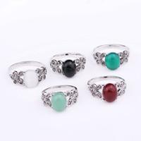 ingrosso signore anelli pietre naturali-Retro Boemia argento opale Anelli Set Vintage donne gemma naturale pietra anello Kit gioielli accessori regali per le signore