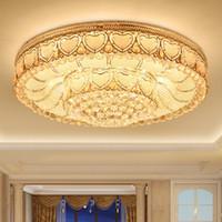 lüks otel kolye lambaları toptan satış-Modern LED tavan kristal avizeler lüks asil yuvarlak kolye avize otel villa oturma odası yatak odası tavan avizeler için ışıkları