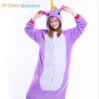 Wholesale men cotton pyjamas - Animal Pajamas Unicorn Onesie Pyjamas Adult Unisex Birthday Party Halloween Cosplay Costume Pajamas Sleepwear For Men Women