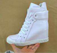 siyah kama platform ayak bileği botları toptan satış-Siyah Beyaz Kırmızı Deri Süet Kadın Lace Up Ayak Bileği Patik Yüksek Platformu Kama Motosiklet Boots Ayakkabı Açık Rahat Ayakkabı Size41