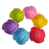 ingrosso sapone muffe natale-Caso 7cm Sapone Muffa Natale Nuovo 1pcs Silicone Rose Muffin Cookie Cup Cake Baking Mould Chocolate Jelly Maker