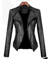 faux cuir veste femme xxl achat en gros de-Automne Femmes Noir Faux En Cuir Veste Slim Fit Moto Veste Décontracté Faux En Cuir Manteau Survêtement Femmes Vêtements FS5913
