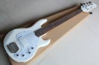 circuit actif achat en gros de-Music man StingRay 5 cinq cordes basse électrique corps blanc plaque en palissandre circuit actif Guitares
