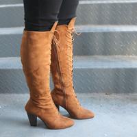 bota larga de encaje al por mayor-AINER CAT Botas hasta las rodillas con cordones atractivas Botas de estilo de Roma Botas de mujer Zapatos de ante de mujer Largo invierno Muslo Alto