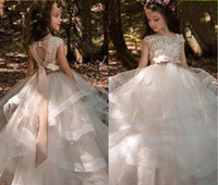 Wholesale white wedding gown red flowers for sale - Group buy Tiered Ruffles Tulle Ball Gowns Girls Pageant Dresses Bow Floor Length Flower Girl Dress Lace Beaded Bateau Cap Sleeves Kids Wedding Dresses