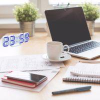 12 часов смотреть оптовых-2017 современный цифровой светодиодный Настольные часы часы 24 или 12-часовой дисплей будильник повтор будильник для дома номер термоаппликации подарок