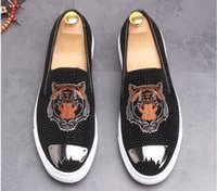 Wholesale Fashion Leisure Shoes - 2018 New Luxury embroidery Men's Fashion Casual Shoes black Gold Glitter Leisure Slip on Rivets Loafers Shoes Man Party Weeding Dress Shoes