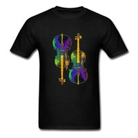 ingrosso strumento violoncello-Summer Style Hip Hop Tops Ultime novità T Shirt Uomo Double Cellos Musical Instruments Girocollo in cotone per adulti