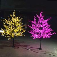açık çiçek hafif ağaç toptan satış-LED Yapay Kiraz Çiçeği Ağacı Işık Noel Işık 1152 adet LED Ampuller 2 m / 6.5ft Yükseklik 110/220 VAC Yağmur Geçirmez Açık Kullanım Ücretsiz Kargo