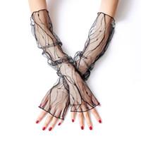 летние длинные перчатки оптовых-Солнцезащитный крем без пальцев перчатки женщины лето длинные дамы анти-УФ вождения перчатки ажурные Sheer руки рукава солнцезащитные варежки
