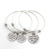 Wholesale Wholesale Inspirational - You are braver than believe, Stronger than seem, and smarter than think Bracelet Wristband Adjustable Inspirational Jewelry