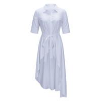 ofis gömlek yaka kadınlar toptan satış-Sisjuly Kemer Yarım Kollu Asimetrik Uzun Beyaz Gömlek Kadın Maxi Bluz Turn Down Yaka Katı Sonbahar Ofis Bayanlar Casual Gömlek