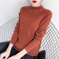 Wholesale Brick Computer - Autumn Plus Size Knitted Sweaters For Women Turtleneck Long Sleeves Rivet Pullover Femme Brick-Red Jumpers Lady's Sweater GD550D