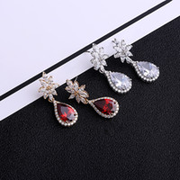 Wholesale 925 Silver Earrings Red - Trendy Water Drop 925 sterling silver ear pin Crystal Earrings for Women Vintage Rose Gold Color Wedding Party Earrings Jewelry brinco femin