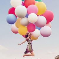 ingrosso palloncini giganti per matrimoni-ecografie per matrimoni 36 pollici 90cm Giant Pink Balloon Round Latex Decorazione di cerimonia nuziale Gonfiabile palla di elio Matrimonio Palloncini Compleanno B ...