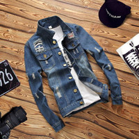 camisa larga de mezclilla chaqueta al por mayor-Camisa de hombre Slim Fit Jeans para hombres Camisa de algodón Camisa de mezclilla Camisa de mezclilla de manga larga de estilo británico Blusa 4XL Denim desgastado viejo