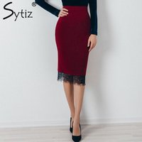 Wholesale Fashion Trends Skirts - Wholesale-Sytiz Wine Suede Embroidery Skirt Bodycon Elegant 2017 Fashion Trend Knee-Length Empire Solid Pencil Women Skirts for OL Office