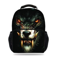 db6c0876038e 15inch Cool Felt Bag For Children Wolf Print Backpack For Teens Boys Girls  School Book Bags For Kids