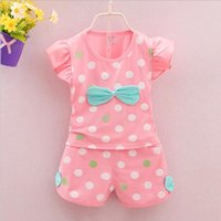 Wholesale Sport Suit Fashion Baby - Fashion Brand Summer Infant Baby Girls Clothes Sports Lovely Long Eyelashes Toddler Girl tops Pants Girls Suit Kids Clothes
