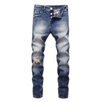 marcas famosas designer jeans venda por atacado-2018 original balplein designer de jeans homens famosa marca jeans rasgados denim algodão homens moda calças buraco 982