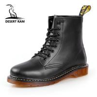 botas de deserto dos homens venda por atacado-DESERT RAM Marca Botas dos homens de Couro Martens Inverno Quente Sapatos de Moto Mens Ankle Boot Doc Martins Outono Homens Oxfords Sapato
