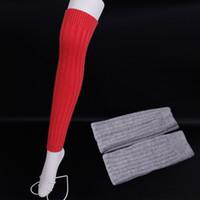 Discount wool thigh high socks - Solid color wool Leg Warmers Stripe thigh stockings female Wool boots socks High quality Leg Warmers Knit High Knee Socks