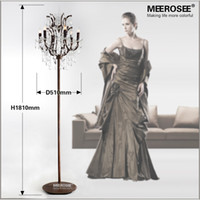 Wholesale vintage lamp stand - Popular Vintage Style Crystal Floor Lamp Rust Red Color Stand Lamp with 6 Lights for Reading Room Hotel Living Room LD003