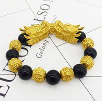 pulseiras de ouro buda venda por atacado-New Hot Cor de Ouro Pi Xiu Contas de Buda de Pedra de Obsidiana Bangles Thermochromis Sorte Pulseira de Energia para Mulheres Dos Homens