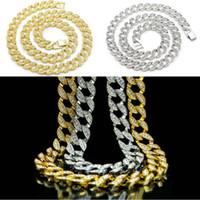 14k schwere goldketten großhandel-Heißer Verkauf Gold überzogene Männer Kette Halskette Punk Stil Glück Schmuck 1,5 cm Breite Heavy Duty Mode-Accessoire D770S
