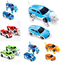 Wholesale Wind Car Toy - 6 colors 12CM kid toys cool Automatic transform Clockwork Dog Car Vehicle Clockwork Wind up toy for children kids toys Car toy Gift