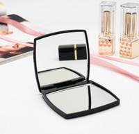 caixa acrílica preta venda por atacado-2018 novo clássico de alta qualidade acrílico dobrável espelho lateral duplo / Clamshell preto portátil espelho de maquiagem com caixa de presente