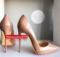 новые сексуальные ботинки оптовых-Бесплатная доставка плата новый стиль sexy Lady Nude лакированная кожа точка toe туфли на высоких каблуках сапоги насосы 120 мм 100 мм натуральная кожа