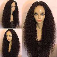 Wholesale burgundy afro - Black Curly Wigs for Black Women Long Kinky Curly Synthetic Wig Heat Resistant Cheap African American Wigs Black Afro Curly Hair