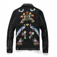 siyah tırnak modası toptan satış-Adam Yaka rozeti Ceket Boş zaman Tırnak kovboy Gevşek ceket Kazak siyah moda Tek sıra toka Ceket Yeni stil