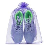 koşu poşetleri çantaları ücretsiz gönderim toptan satış-30 * 40 cm Katı Saf Renk Organze Çanta İpli Büyük Taşınabilir Torbalar Hediye Paketleme Ücretsiz Kargo ile SN1193